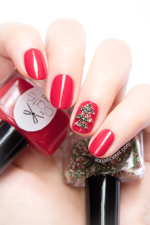 Easy Christmas Tree Nails With Ciate Caviar