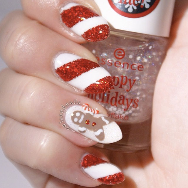 Ginger bread man christmas nails by @owlsnadnails
