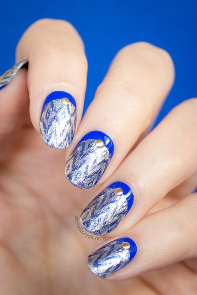 incoco nail strips silver ikat nails