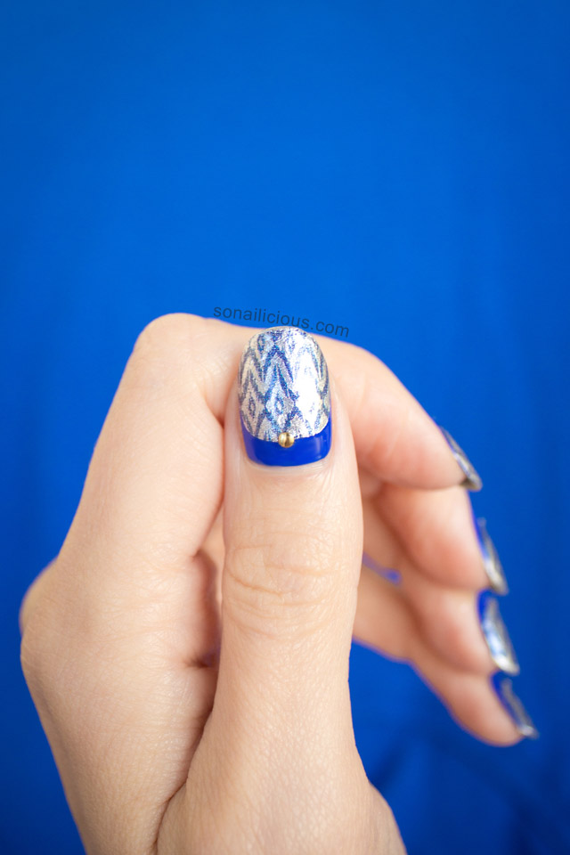 silver and blue nails