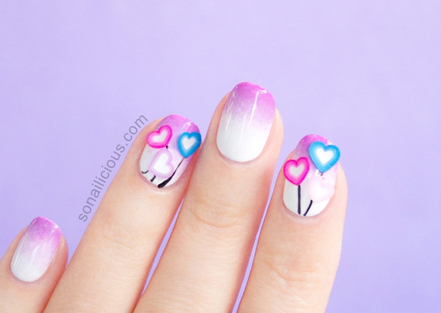 3d love hearts easy valentines day nails