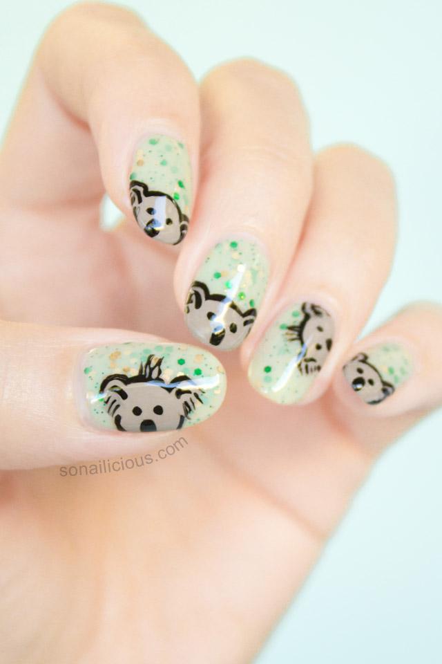cute koala australia day nails