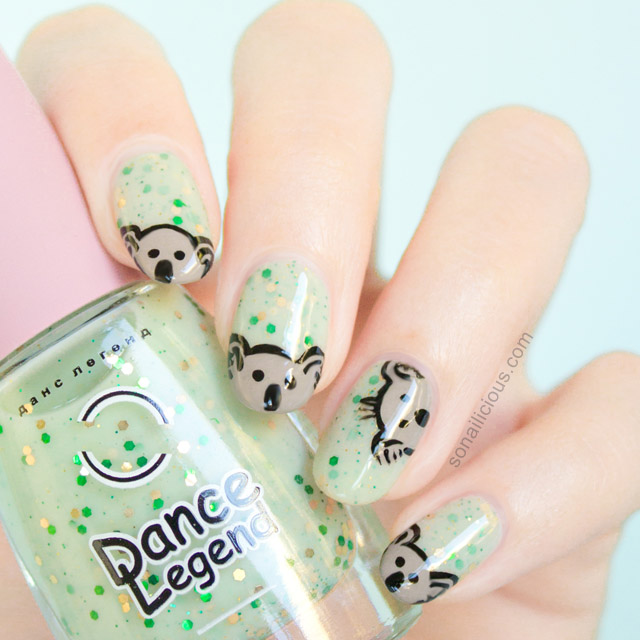australia day nails, cute koala nails