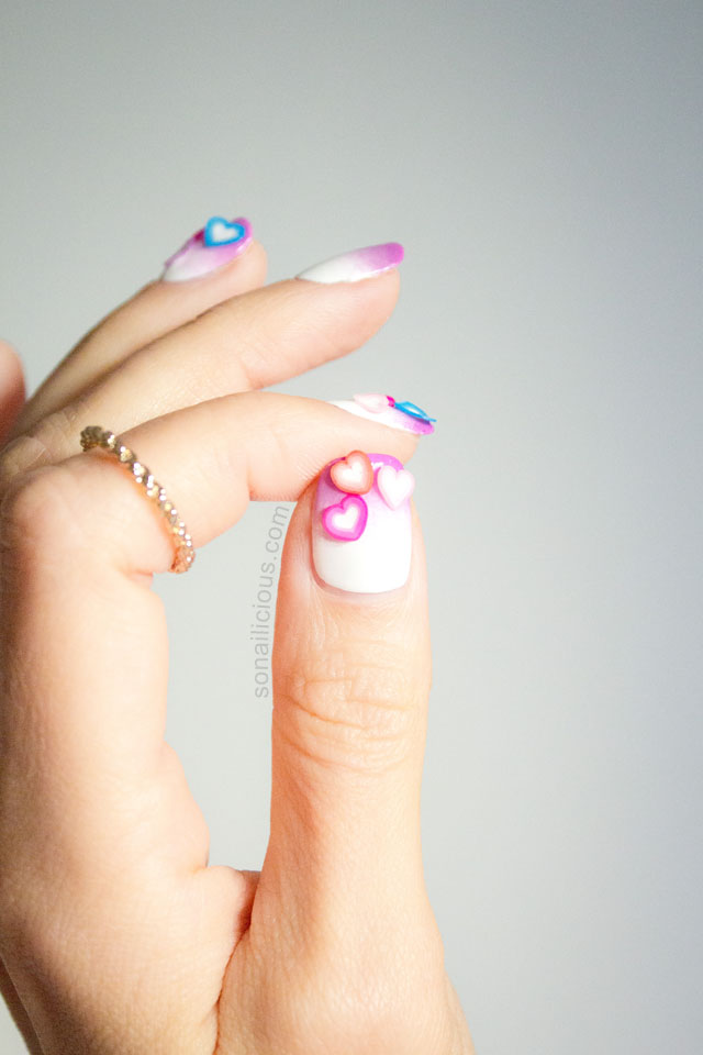 love hearts easy valentines day nails