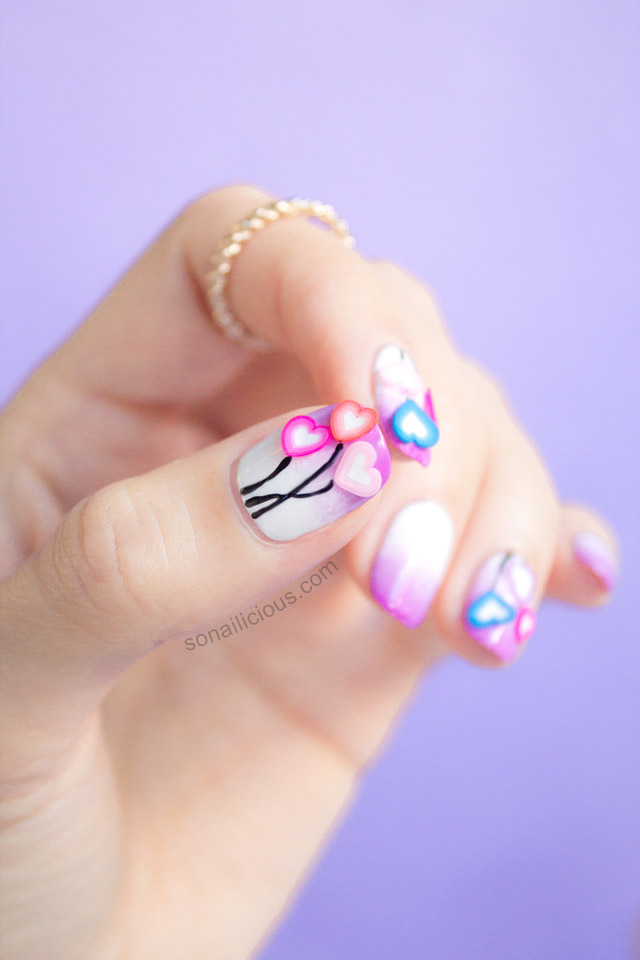 love hearts valentines day nails