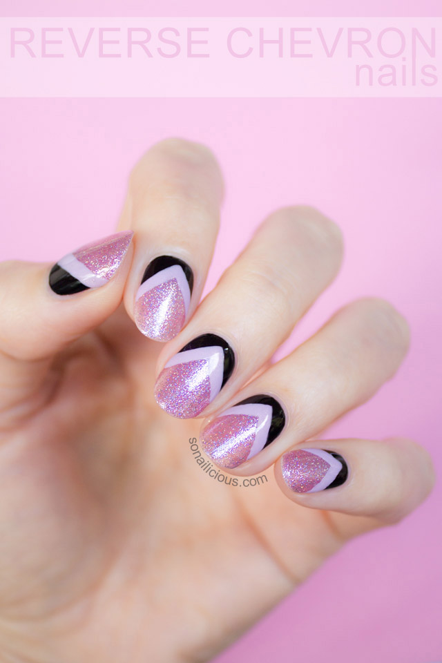 pink glitter nails reverse chevron nails