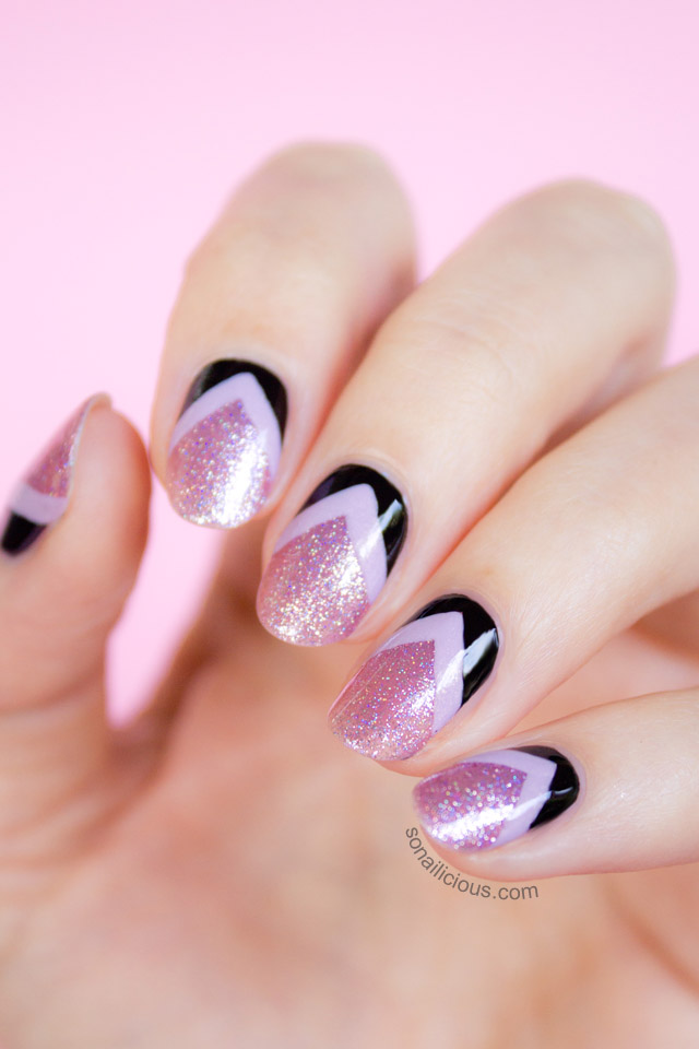 pink, purple and black chevron nails