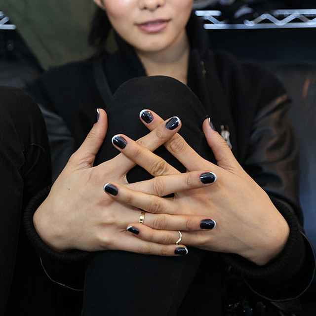 Black and silver French manicure at Tess Giberson