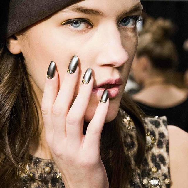 Reverse French nails at Deborah Lippmann at Badgley Mischka
