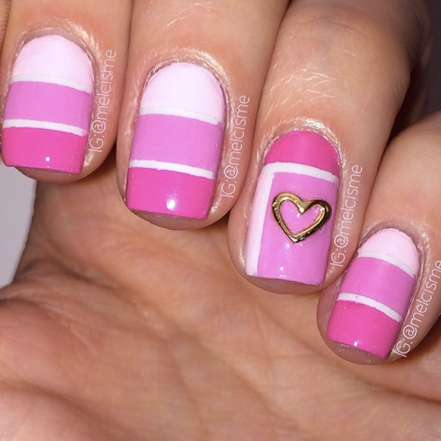 Color Block Valentines Day nails by @melcisme