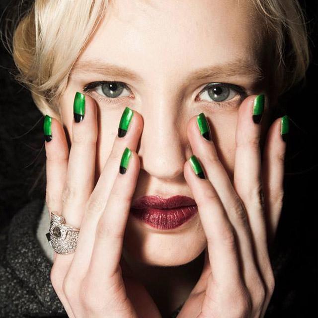 Green and Black half moon nails by Zoya at Zang Toi
