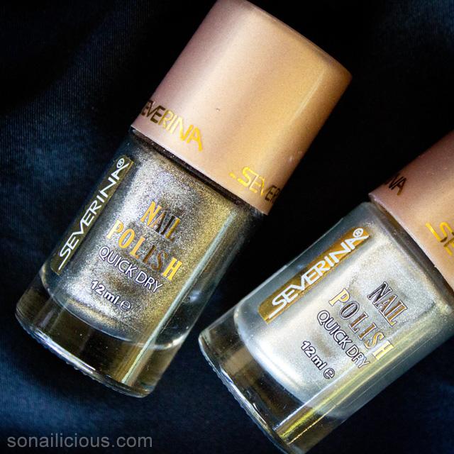 matte silver and black nail polish 1