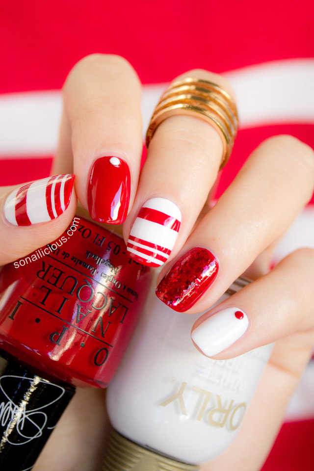 red and white nail art opi over and over a gwen