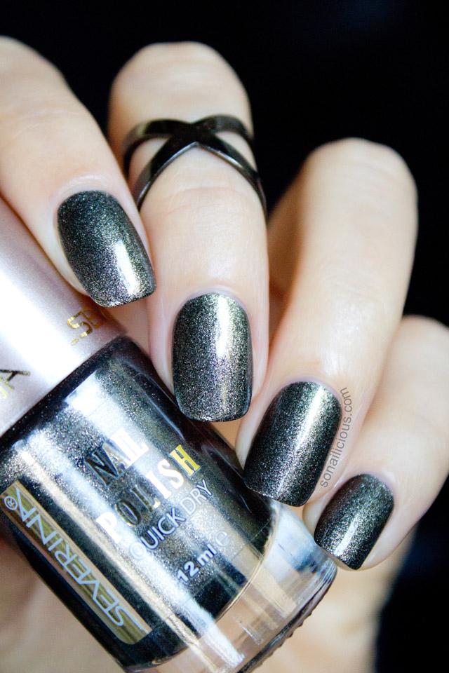1 Polish 2 Ways Severina Gunmetal Black Matte Nail Polish