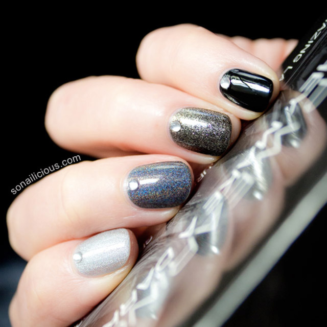 Black Ombre nails by SoNailicious