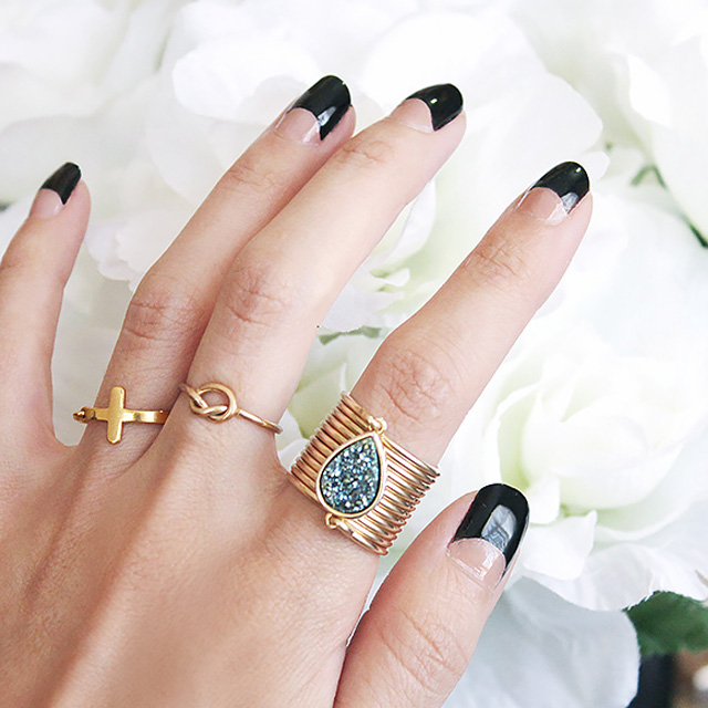 Black hal moon manicure
