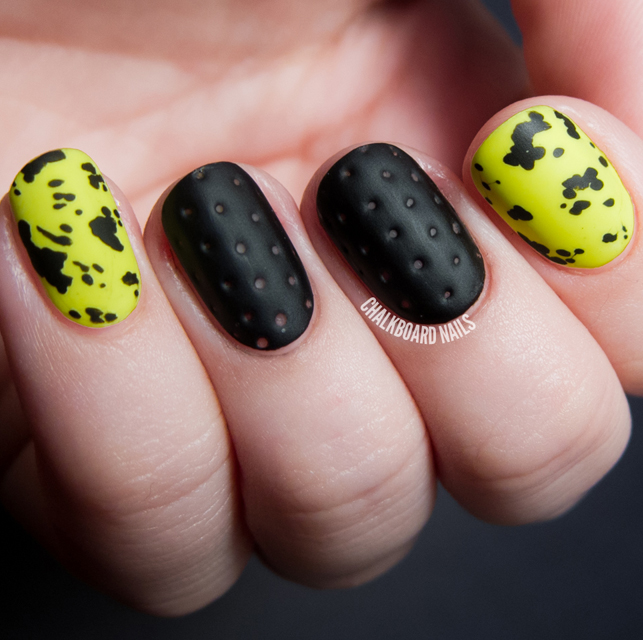 Perforated leather and Neon splatter nails