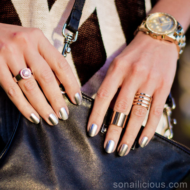 Silver nails and gold rings