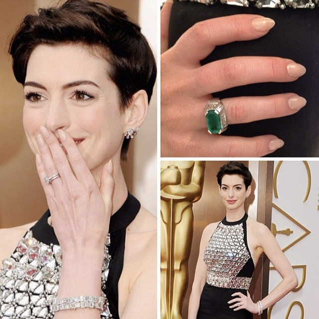 The impeccable Anne Hathaway Oscars manicure by @TomBachik