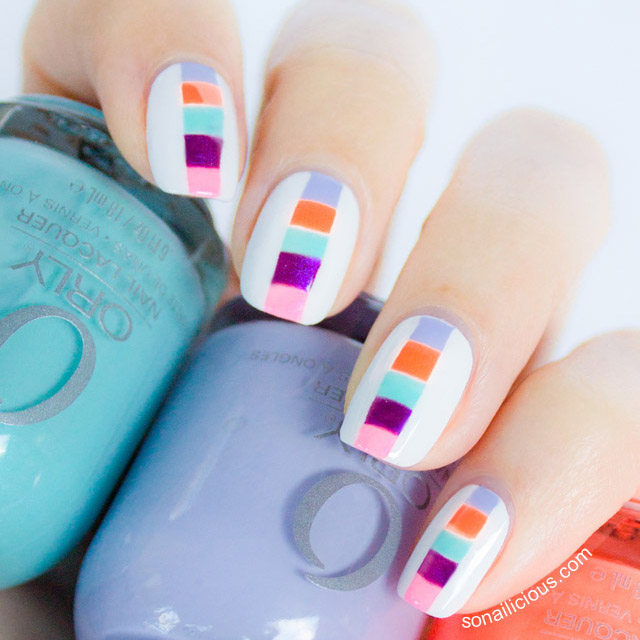 Color block spring nails by SoNailicious