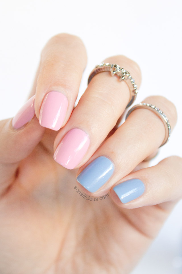 essie blue and pink nails