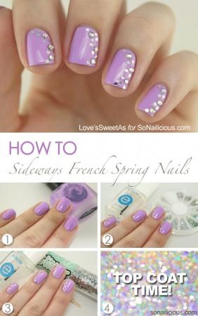 sideways french manicure spring nail art tutorial