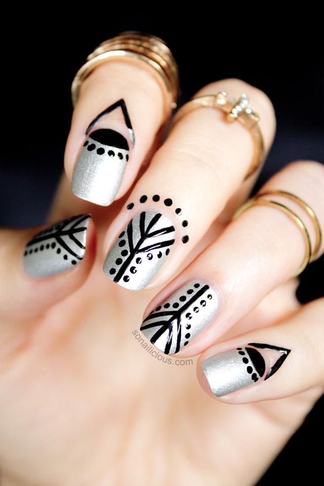 silver and black nails, cuticle nail art 1