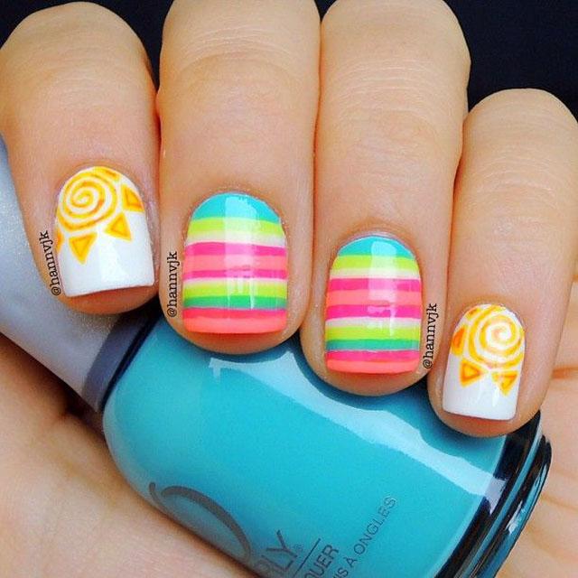 Spring sun nails by @Hannvjk