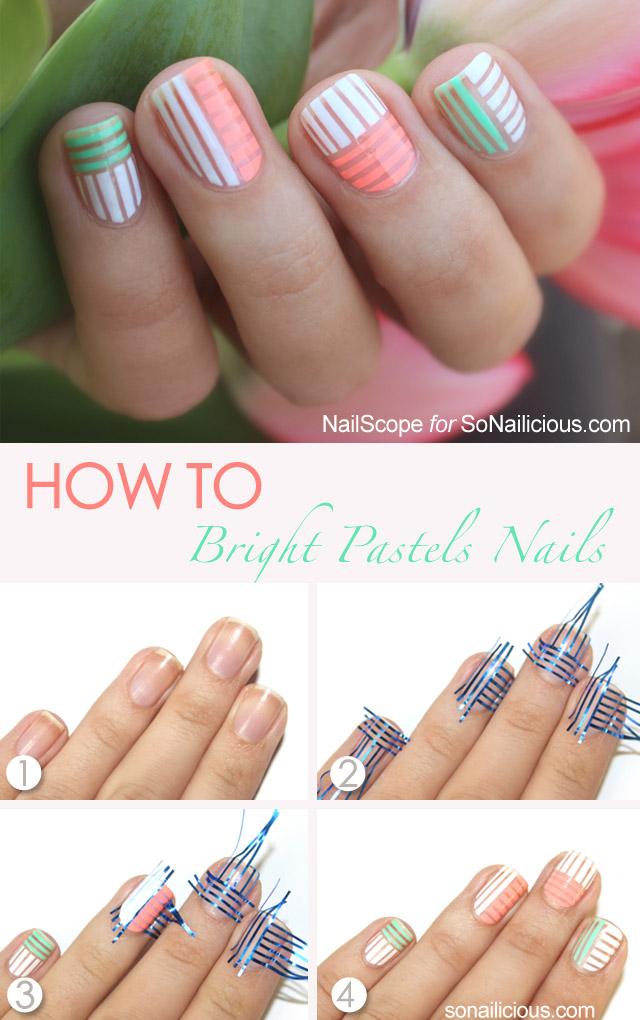 bright pastel nails, pastel nail art tutorial