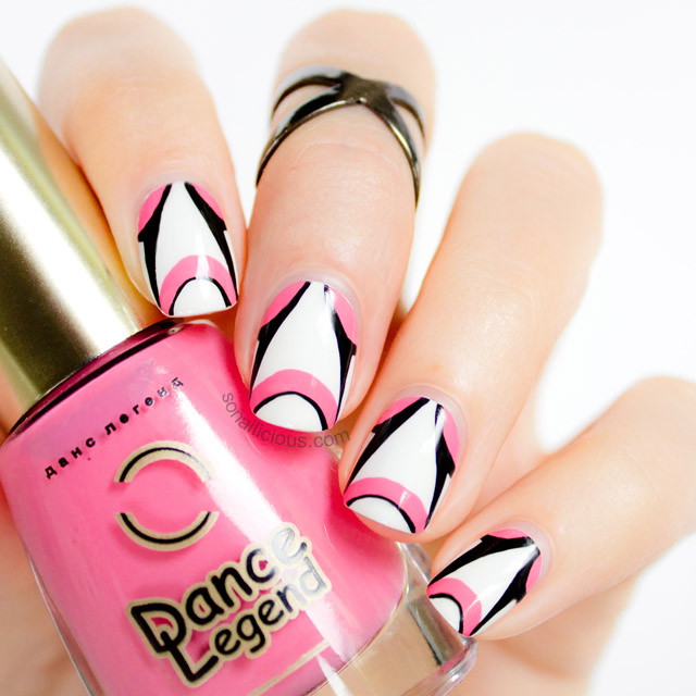 freehand white and pink nails
