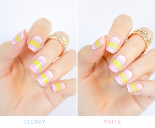 glossy ombre nails v matte ombre nails