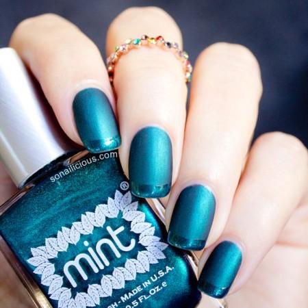 matte emerald nails mint czarina