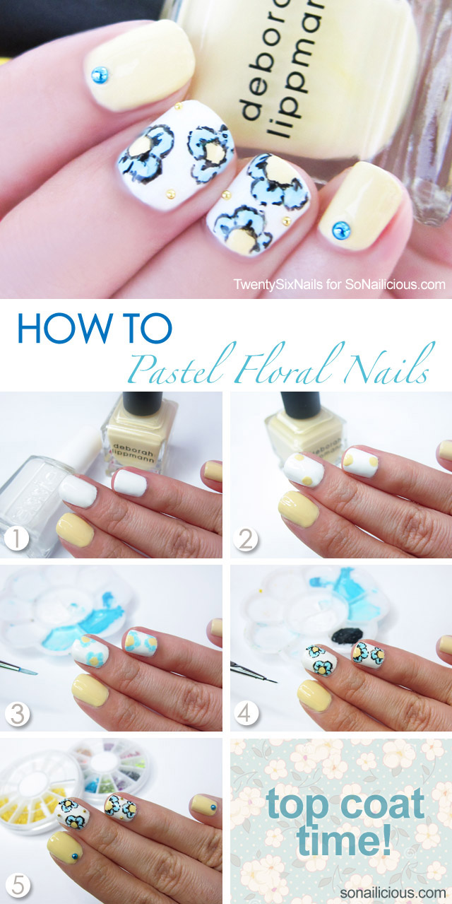 pastel floral nails how to