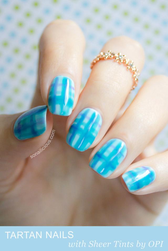 Tartan nails with opi sheer tints nail art tutorial