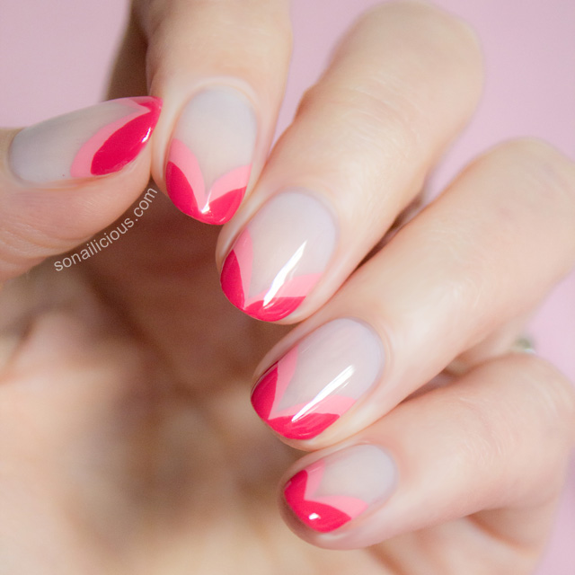 double heart french nails