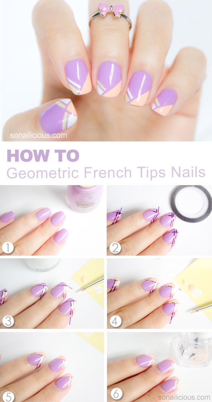 french tips nail art tutorial