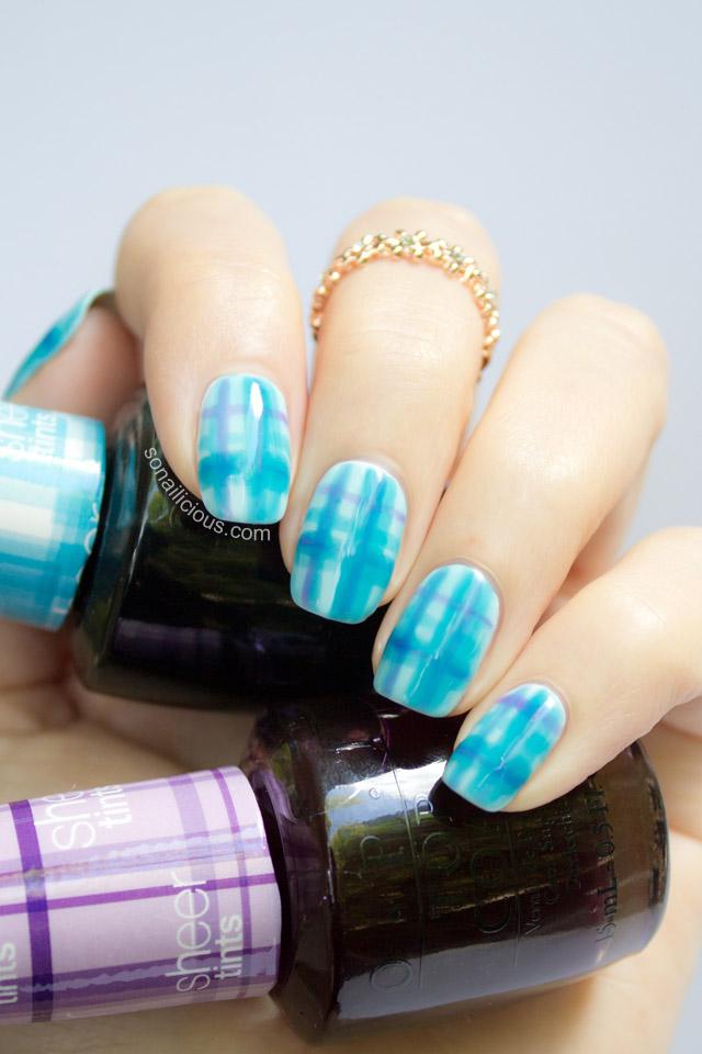 tartan nails with OPI sheer tints