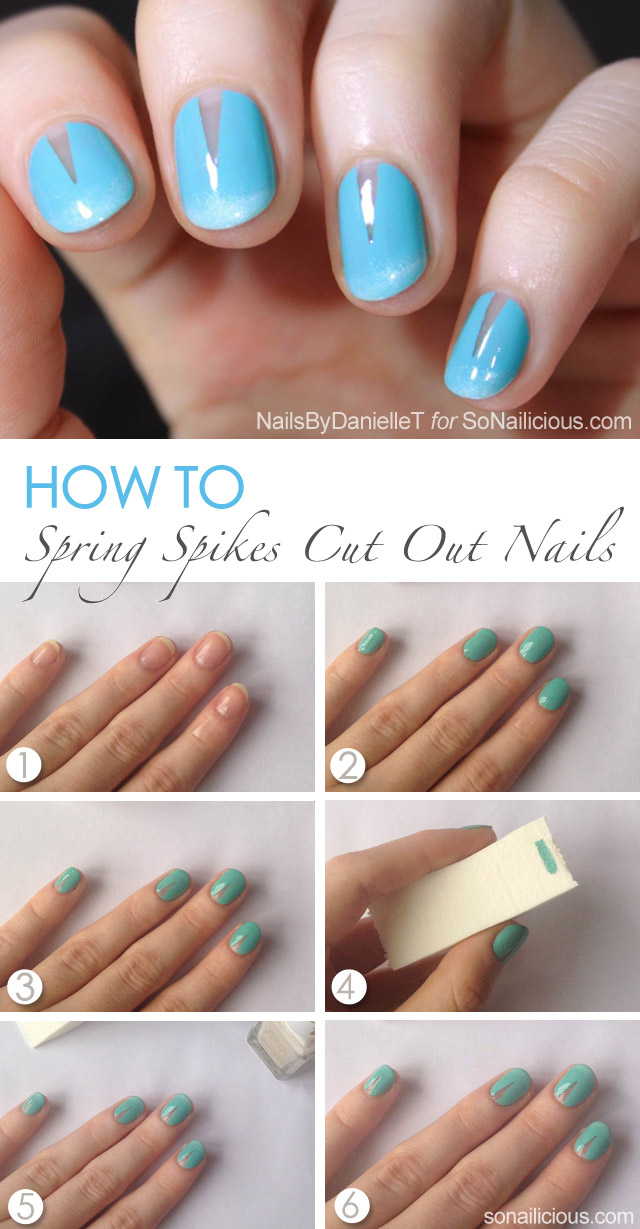 spring nails cut out nail art tutorial