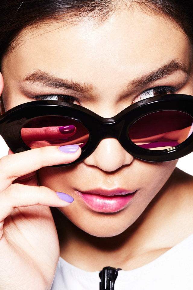 black sunglasses lilac nails