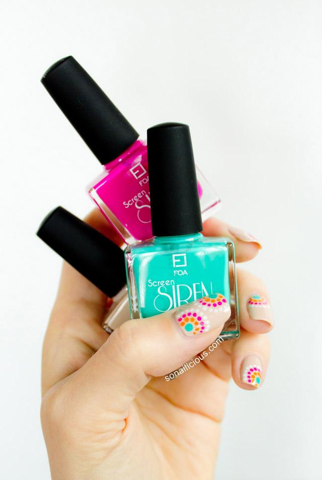 summer nail design, face of australia screen siren nail polish