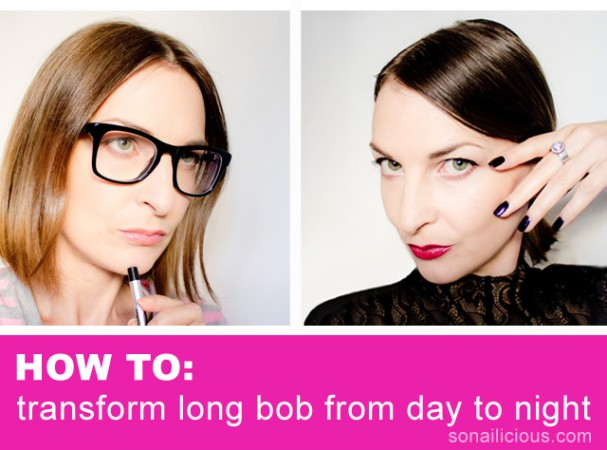 long bob hair transform from day to night