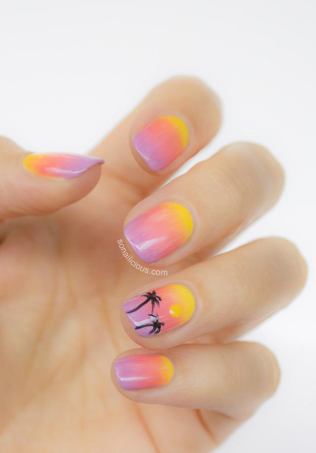 summer sunset beach nails