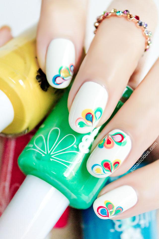 beautiful rainbow nail art, drag marbling
