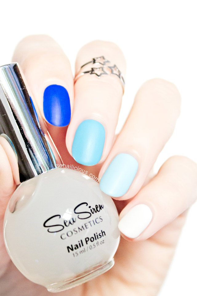 blue matte nails sea siren