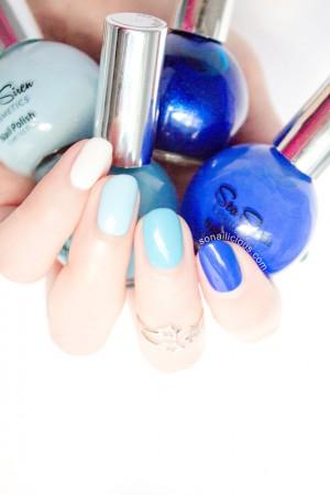blue ombre nails sea siren