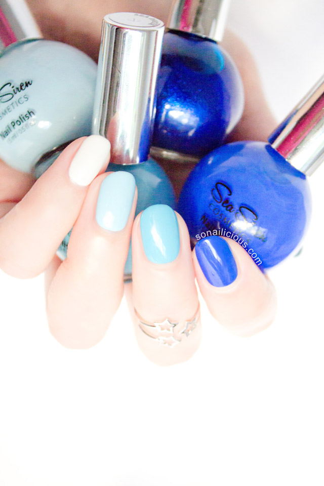 blue ombre nails sea siren