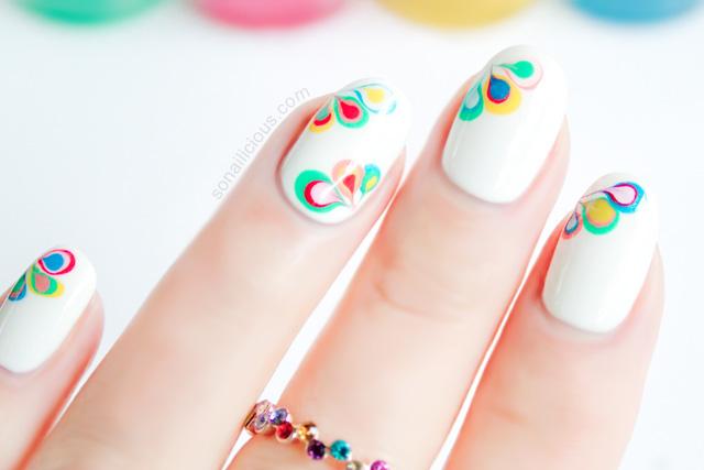 drag marble nail art tutorial, rainbow marble nails