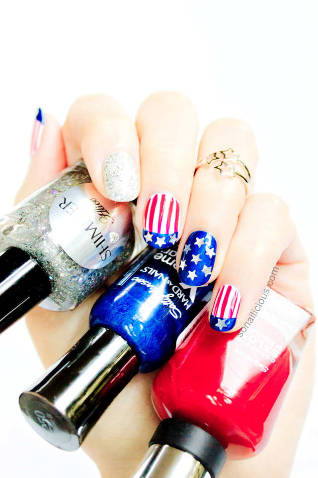 patriotic nails, 4th of july nails tutorial
