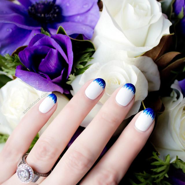 beautiful white and blue wedding nails