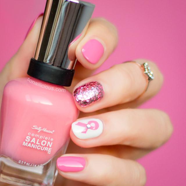 Pink Ribbon Nails sally hansen i pink i can